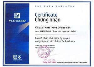 Chứng nhận Đại lý cửa cuốn giá rẻ Sao Việt - là nhà phân phối ủy quyền của Austdoor